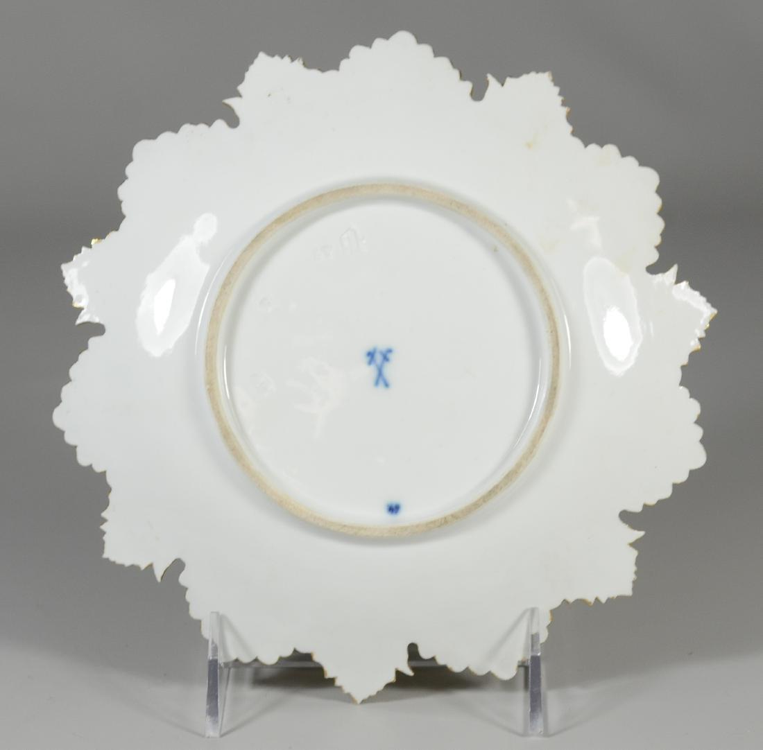 (3) Meissen porcelain round leaf plates - 5