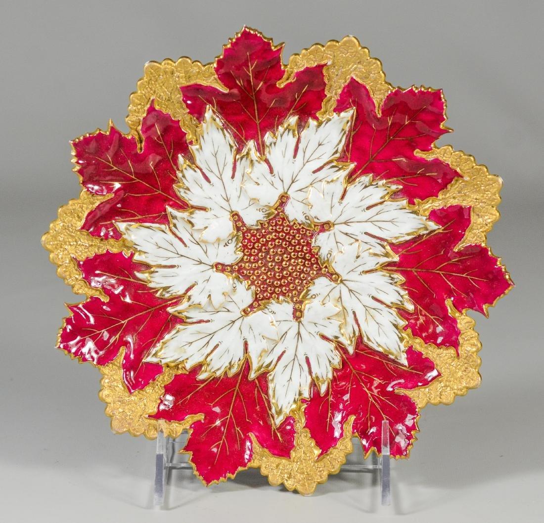 (3) Meissen porcelain round leaf plates - 6