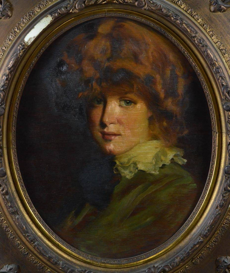Antique portrait painting of a young girl, unsigned