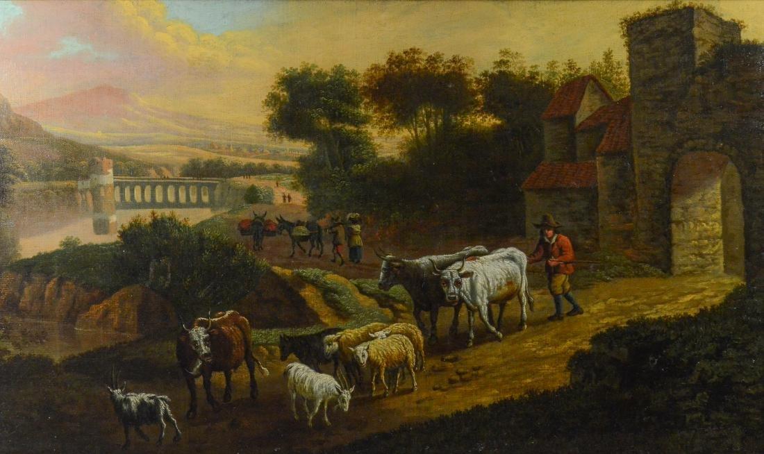Antique Continental landscape painting