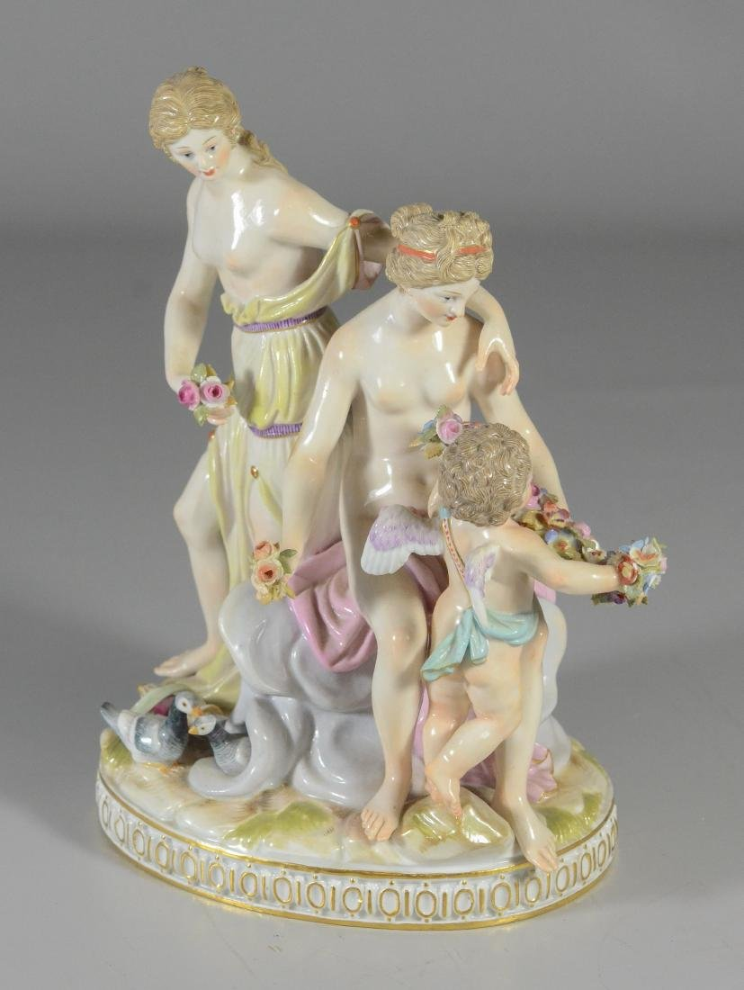 Meissen porcelain group of two maidens & cupid