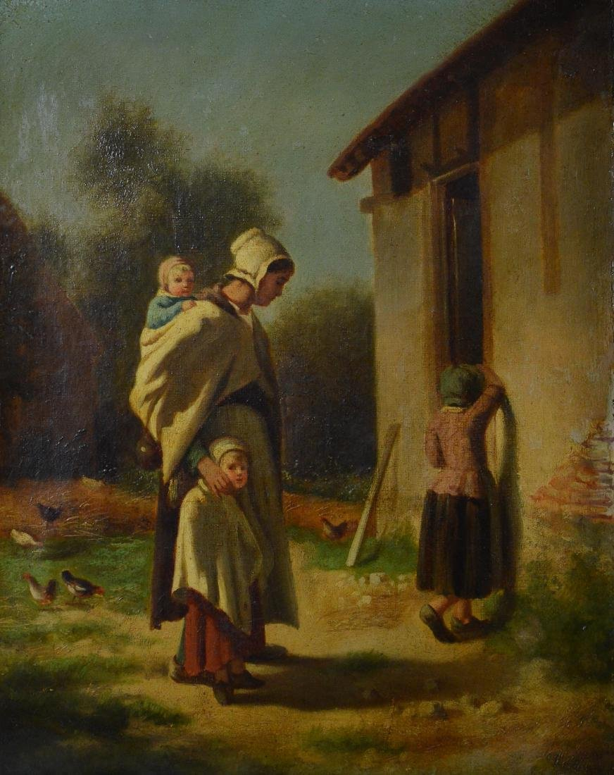 19th C Continental oil painting of a peasant family