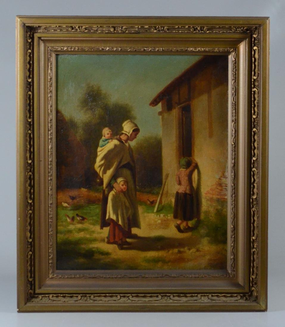 19th C Continental oil painting of a peasant family - 2