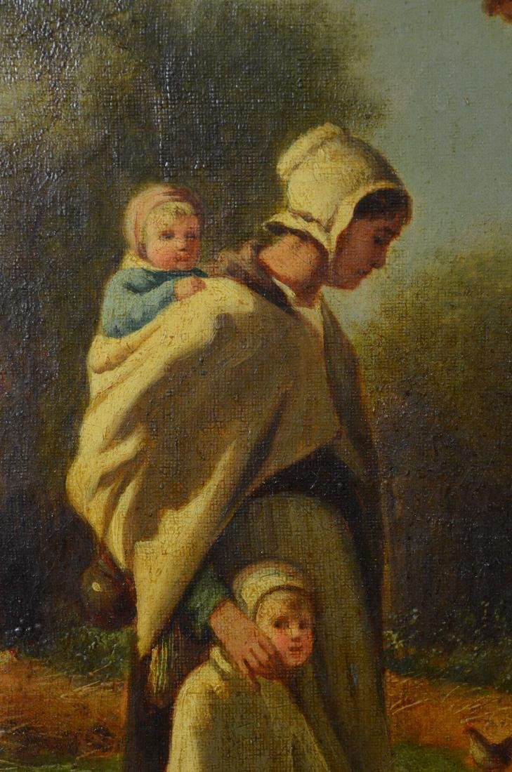 19th C Continental oil painting of a peasant family - 3