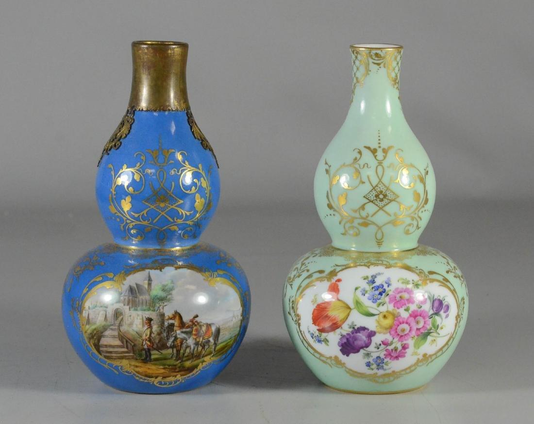 (2) Meissen porcelain double-gourd shaped scent bottles