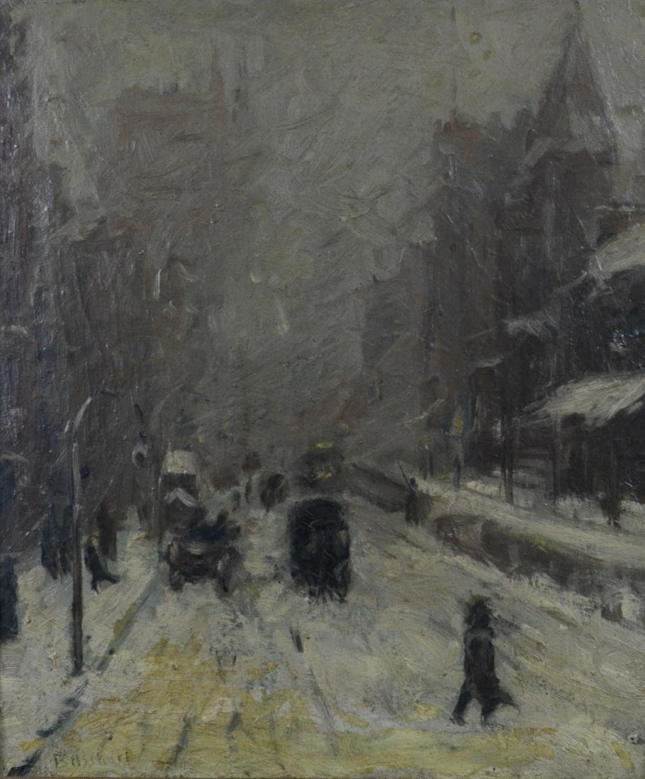 Ernst Bosshart Winter painting snow covered street