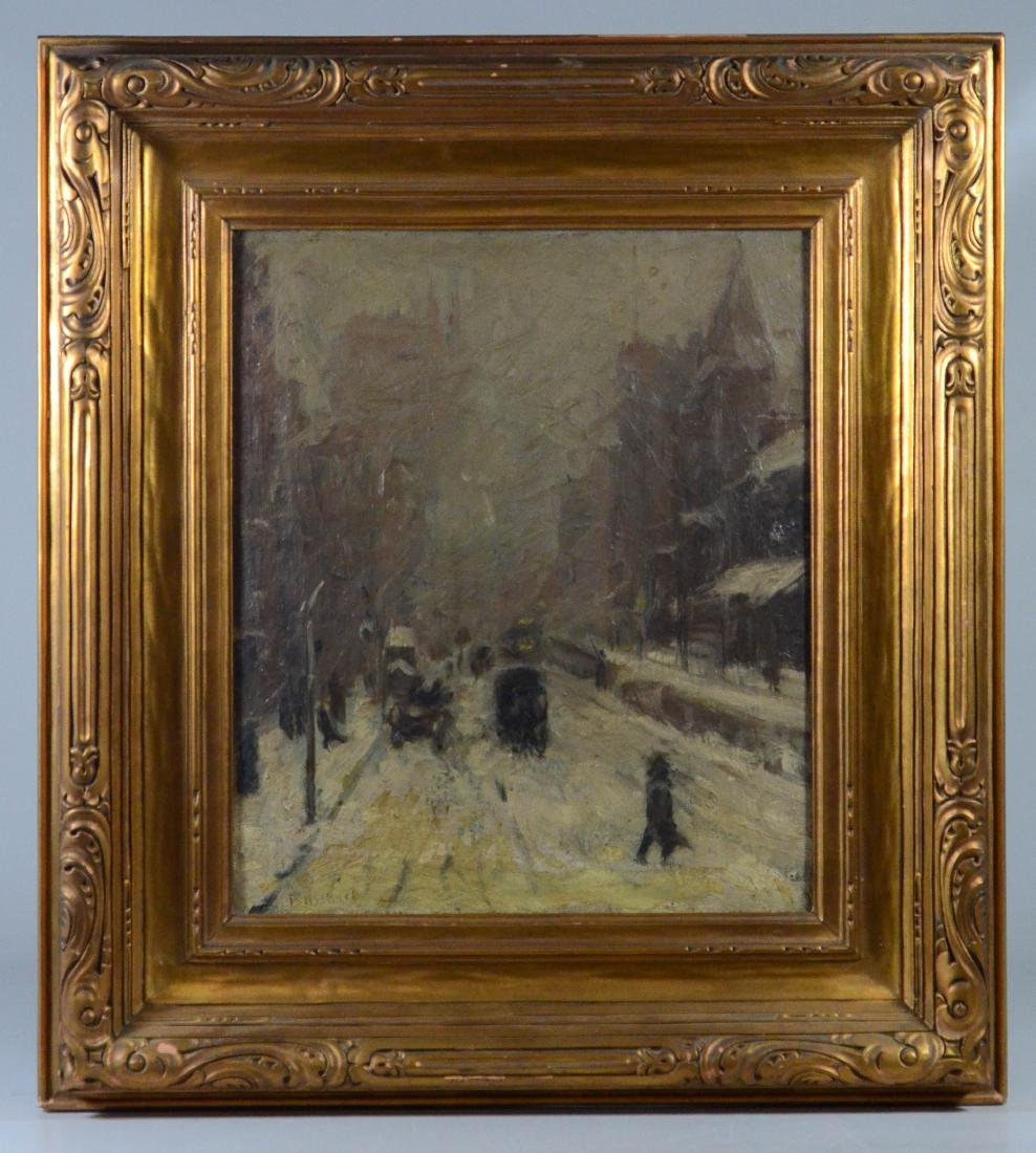 Ernst Bosshart Winter painting snow covered street - 2