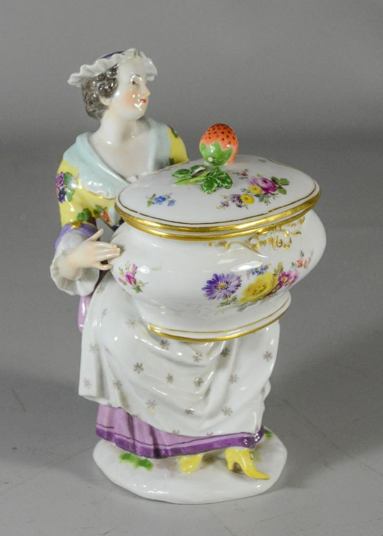 Meissen porcelain figural covered sauce tureen