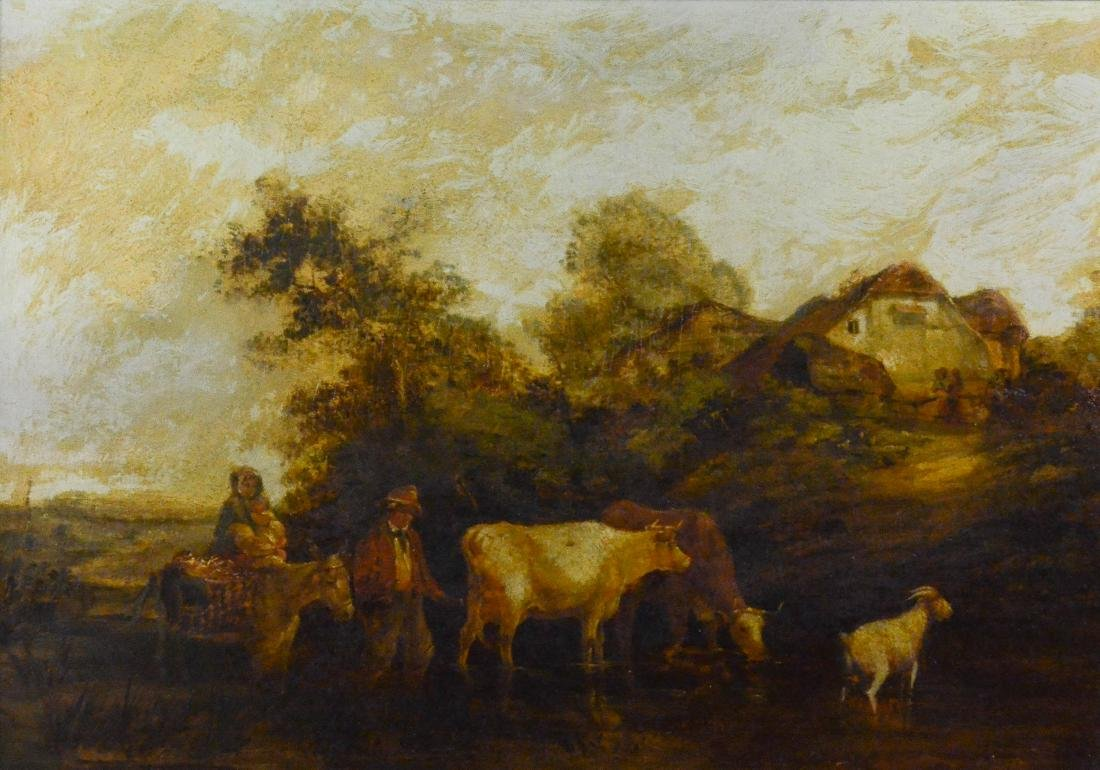19th C Continental landscape painting with cows