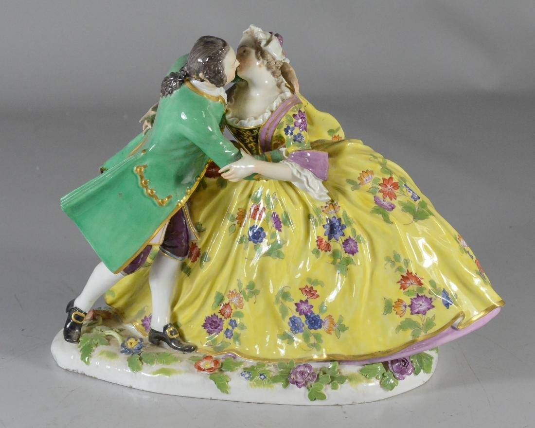 """Meissen porcelain crinoline group of """"Lovers Kissing"""""""
