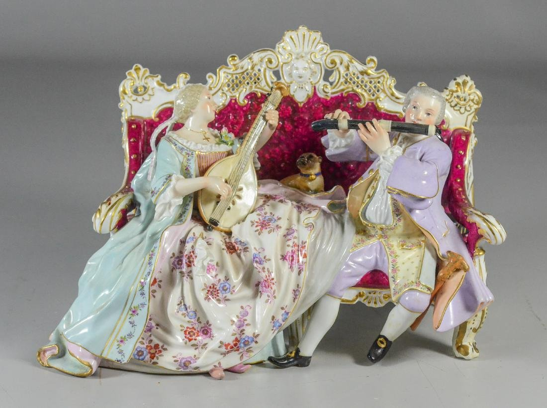 Meissen porcelain sofa group of a duet, late 19th C