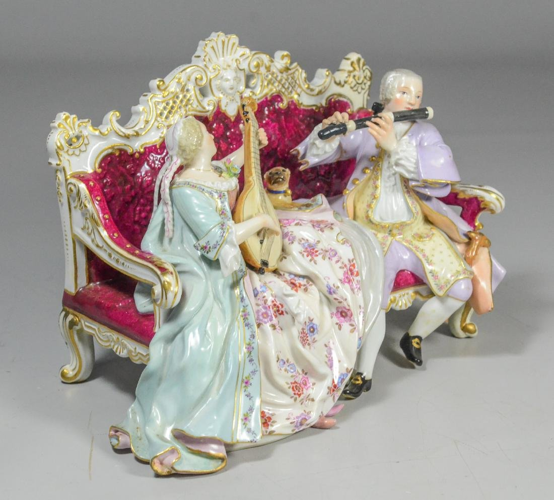 Meissen porcelain sofa group of a duet, late 19th C - 2