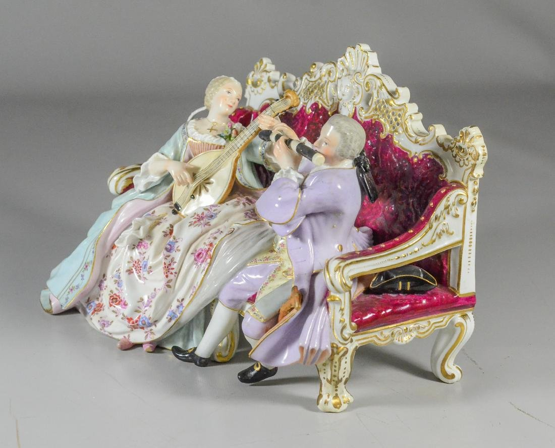 Meissen porcelain sofa group of a duet, late 19th C - 4
