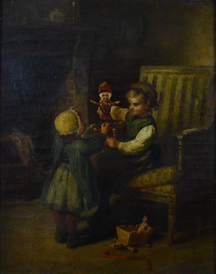 James Champney painting of 2 children with doll