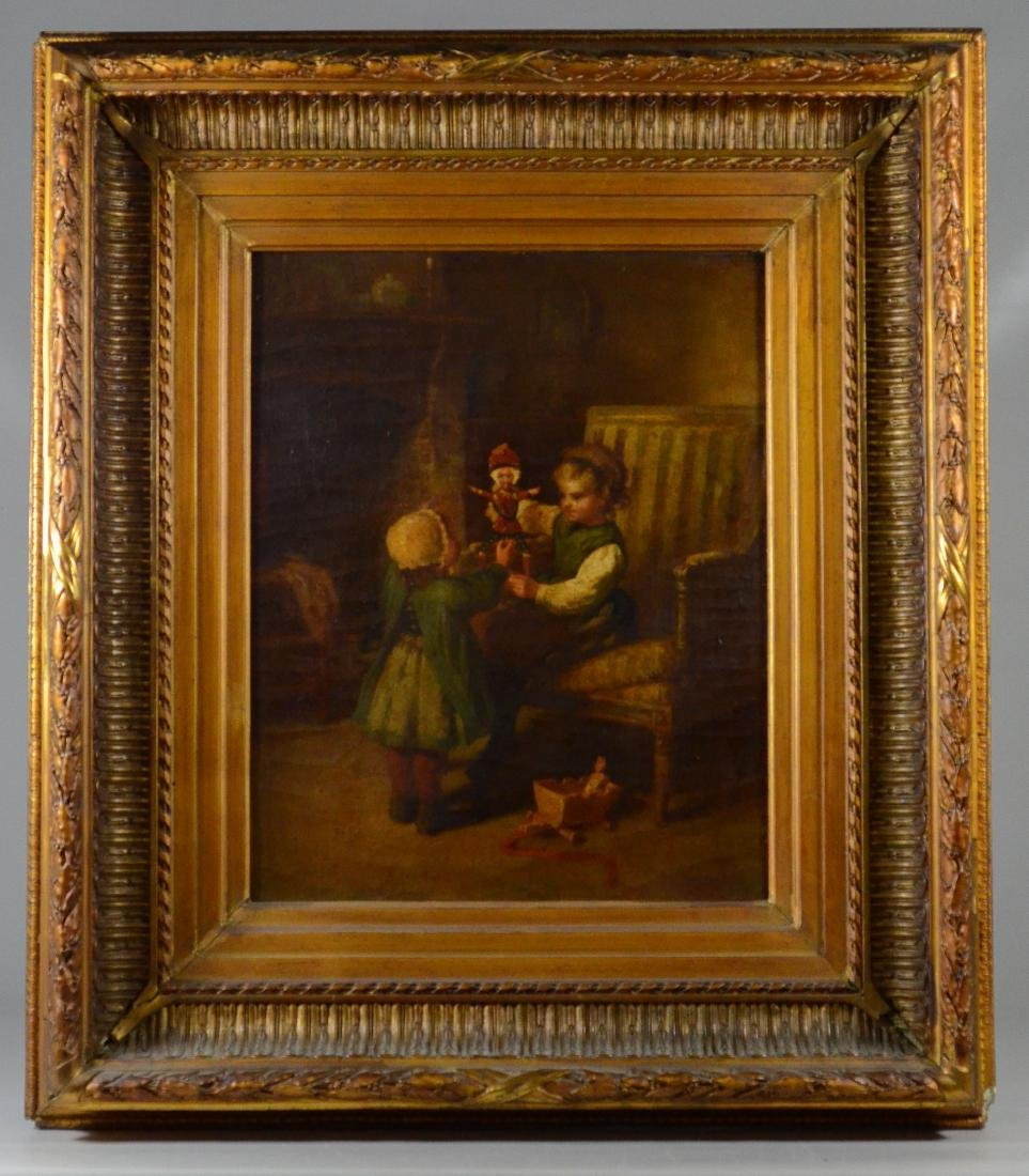 James Champney painting of 2 children with doll - 2