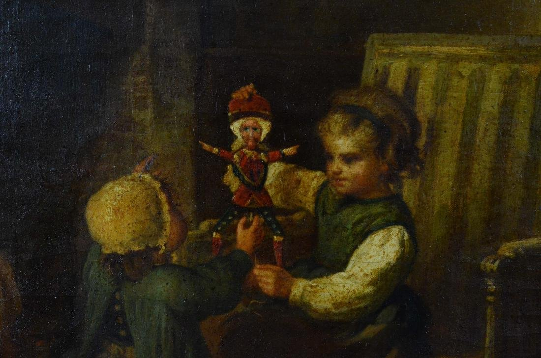 James Champney painting of 2 children with doll - 3