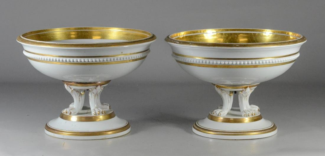 Pair Meissen porcelain neoclassical style compotes