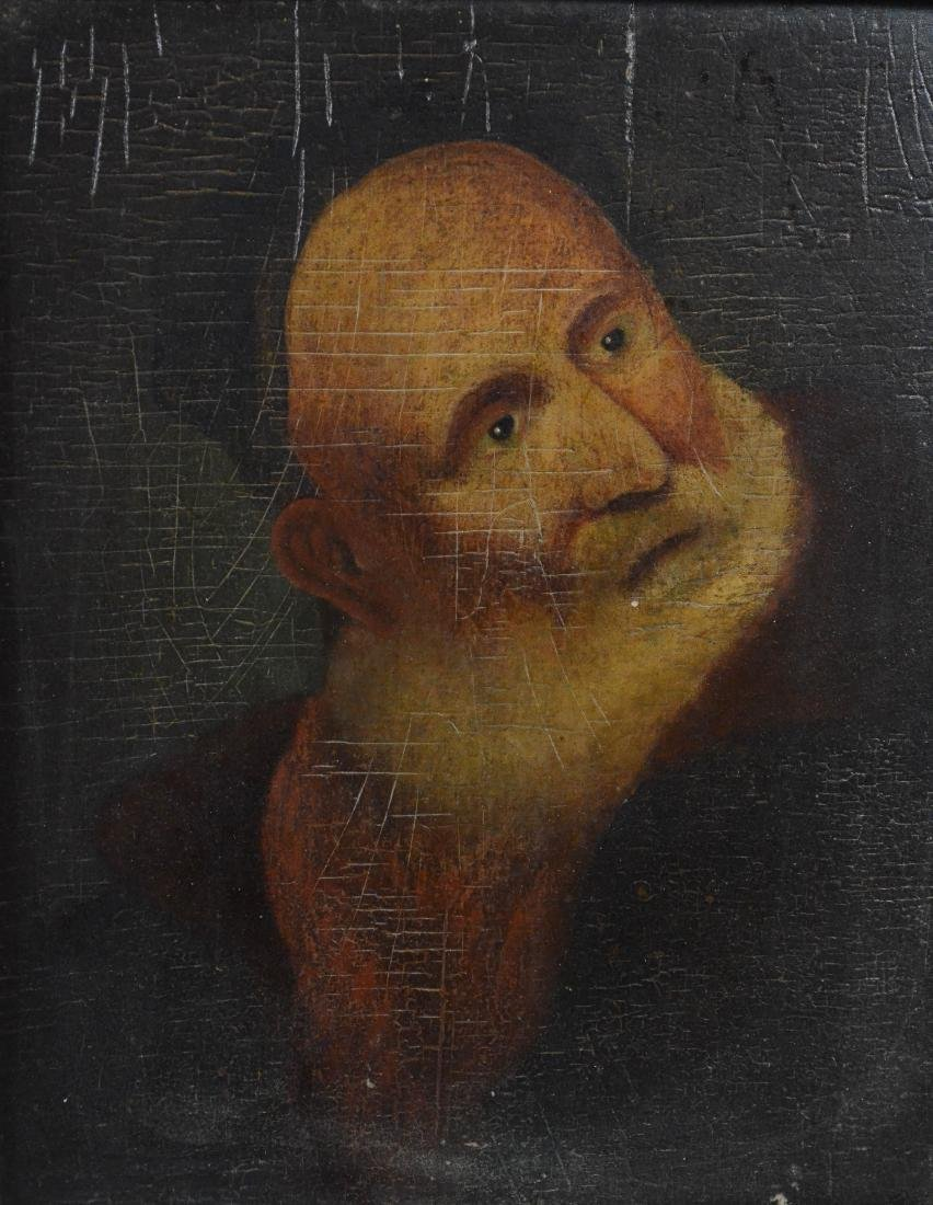 Early portrait painting of a bearded man