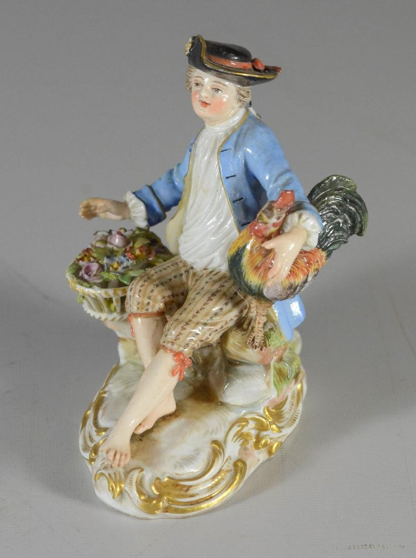 Meissen porcelain figure of a seated youth, late 19th C