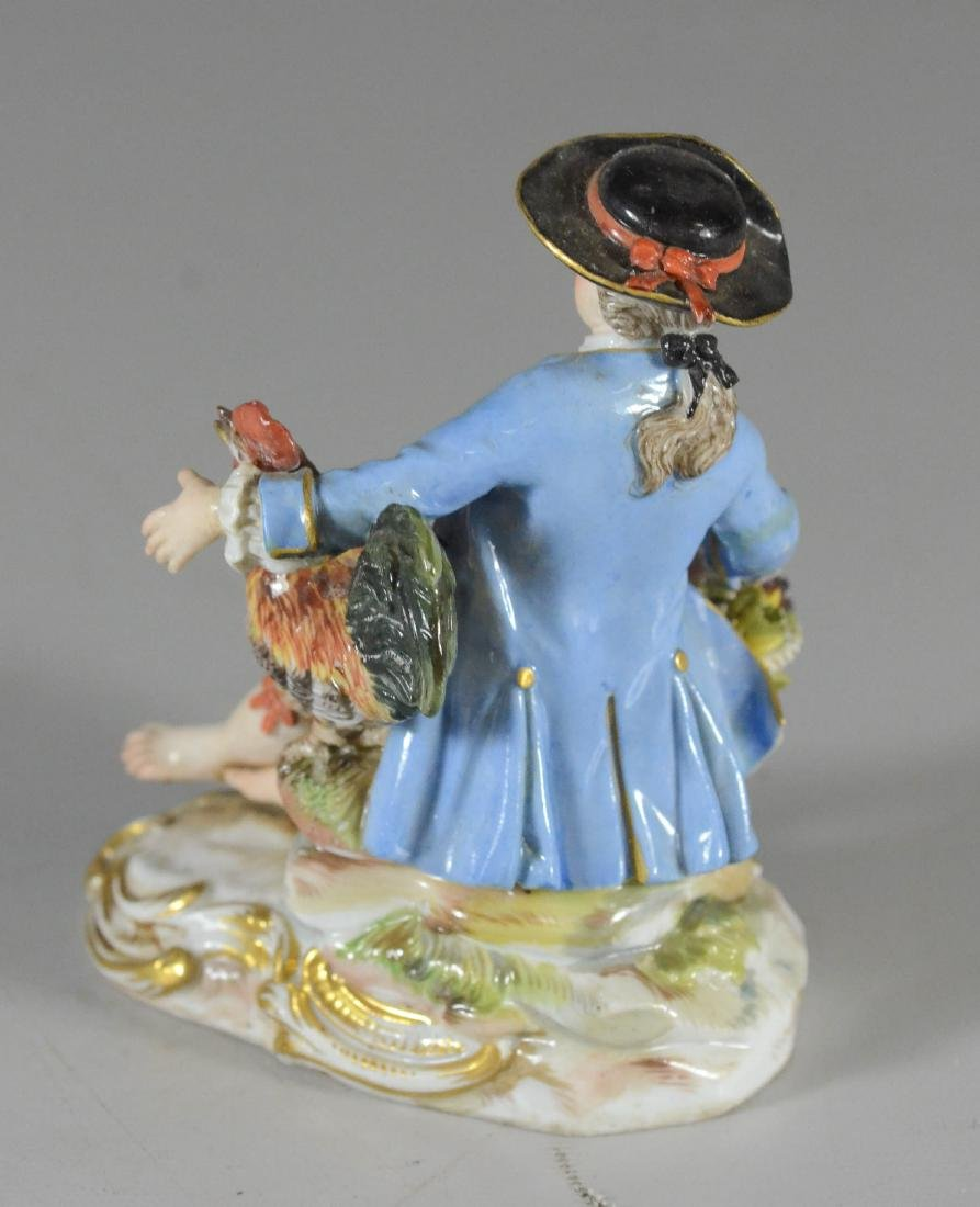 Meissen porcelain figure of a seated youth, late 19th C - 3