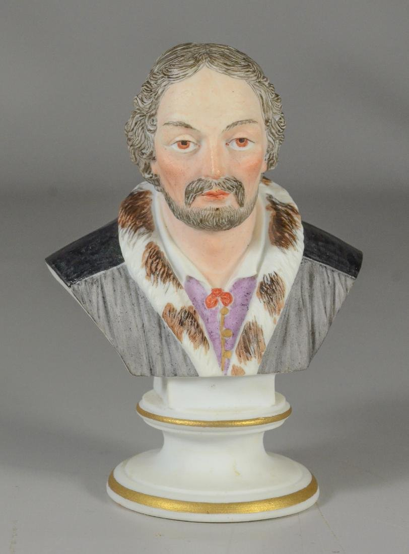 Meissen type painted bisque Bust of a Bearded Man