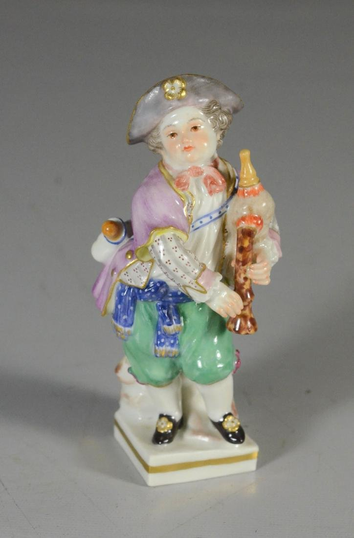 Meissen porcelain figure of a youth with bagpipe