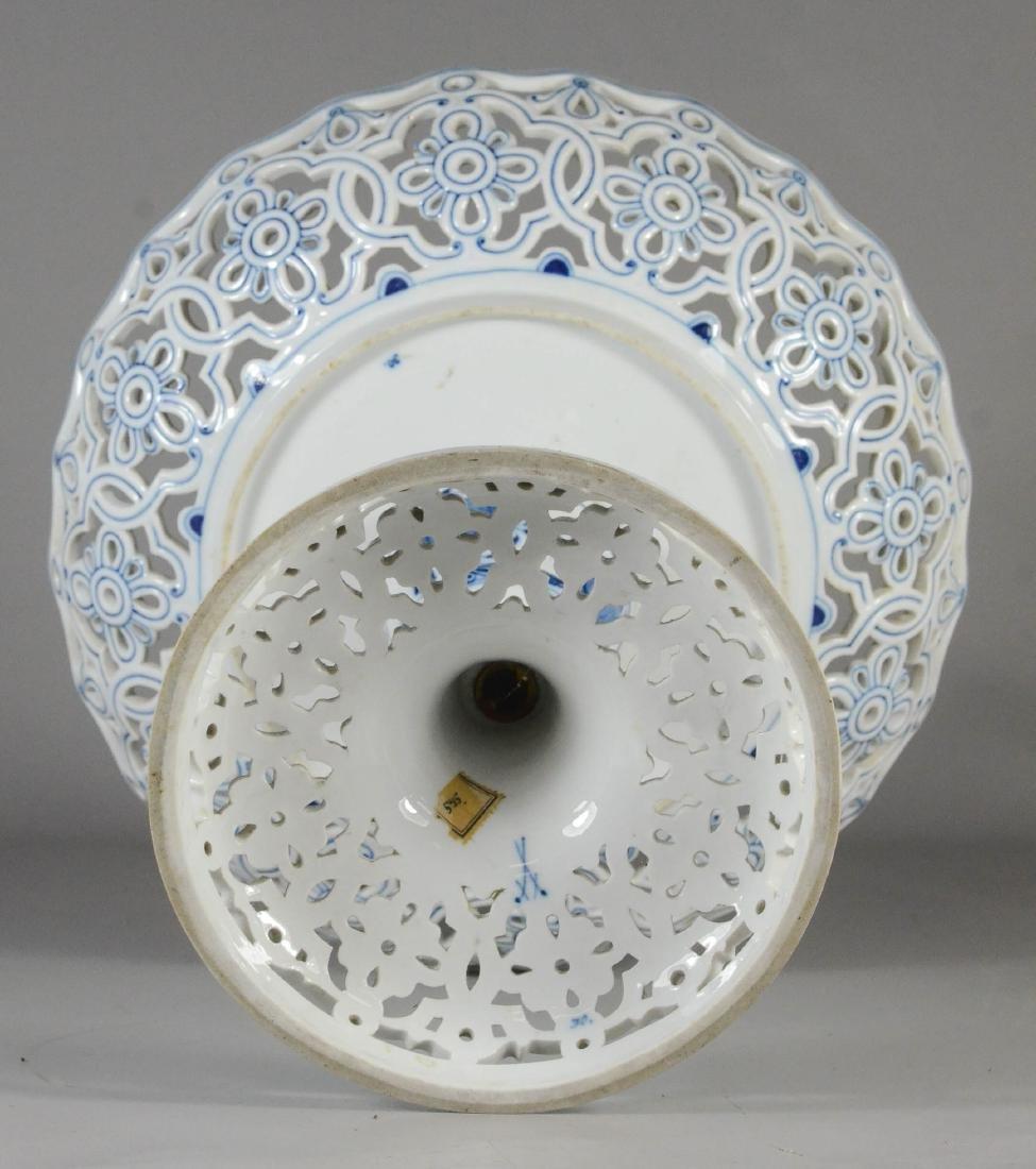 Meissen porcelain Blue Onion open-work compote - 3