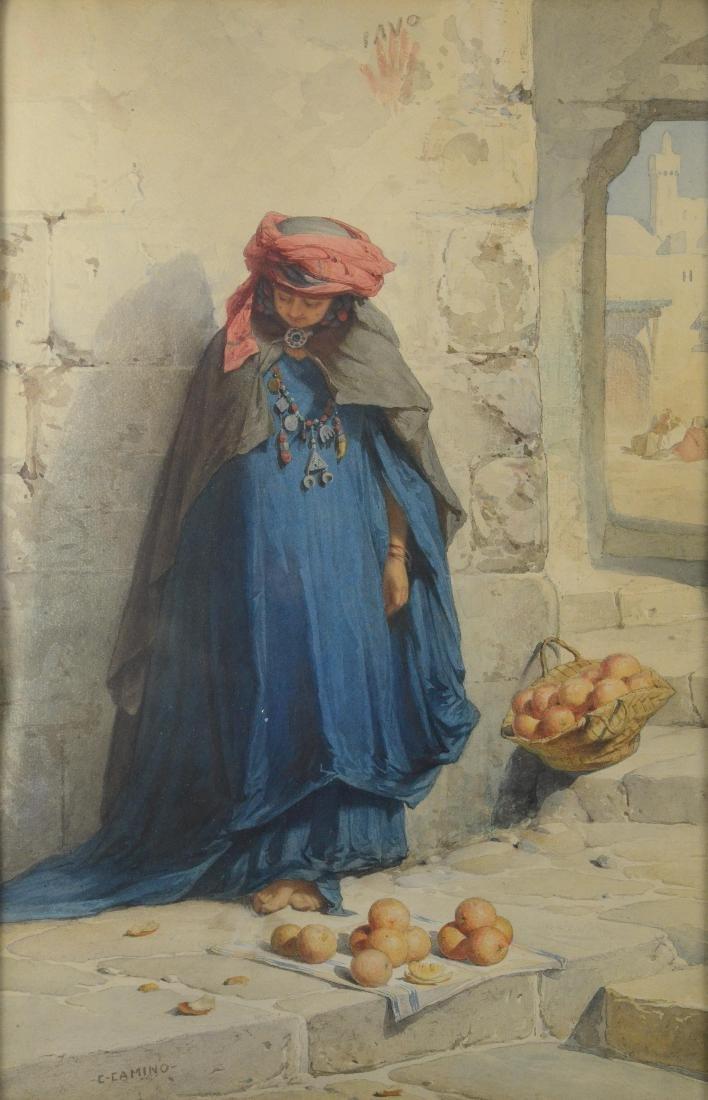 "Charles Camino watercolor painting, ""The Orange Vendor"""