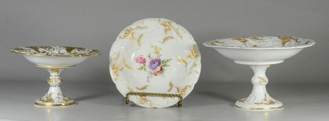 Two graduated Meissen porcelain compotes & plate
