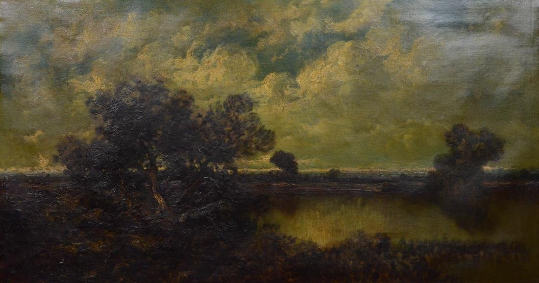 19th C landscape painting, illegibly signed, oil on