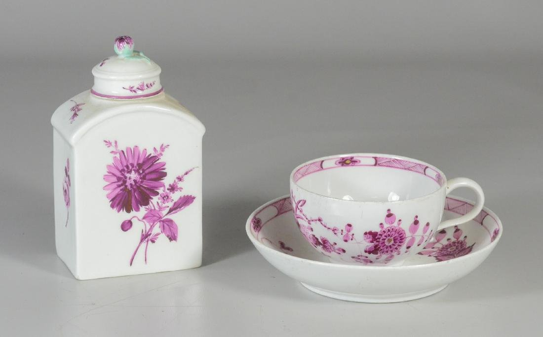 Meissen Marcolini porcelain tea caddy and cup & saucer - 2