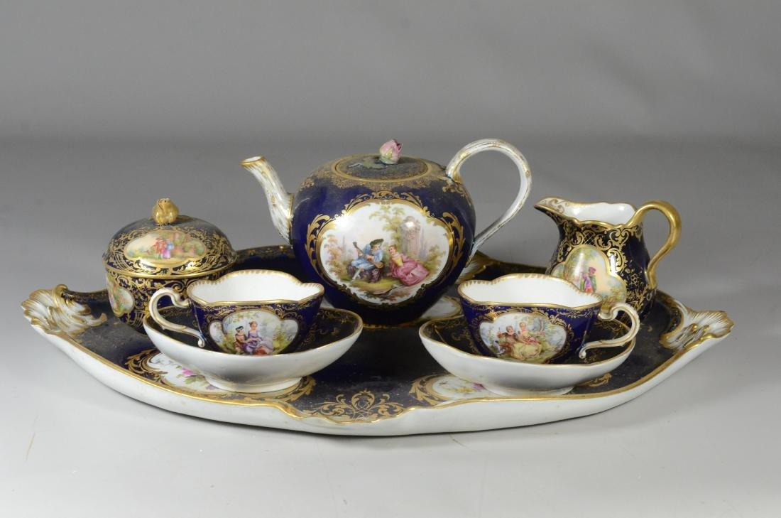 (8) Piece Meissen porcelain cobalt blue tete-a-tete