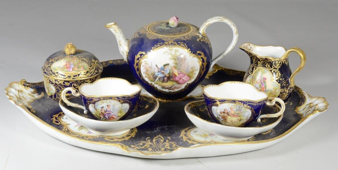 (8) Piece Meissen porcelain cobalt blue tete-a-tete - 2