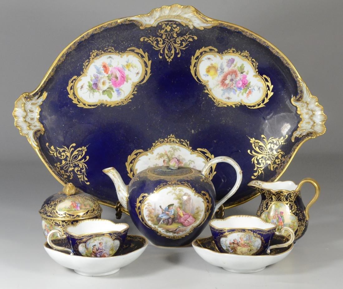 (8) Piece Meissen porcelain cobalt blue tete-a-tete - 3