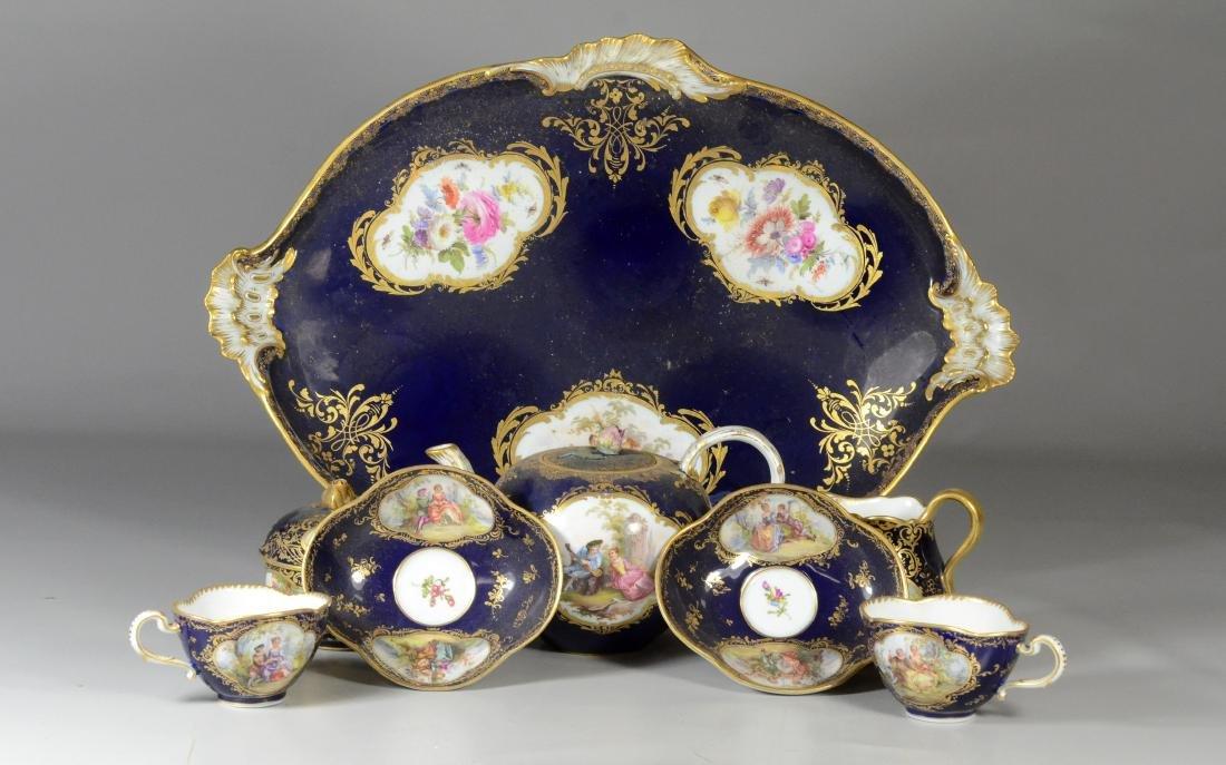 (8) Piece Meissen porcelain cobalt blue tete-a-tete - 4