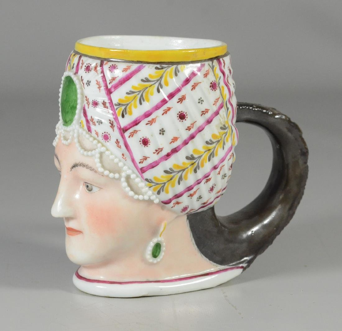 German porcelain covered cup, bust of a woman - 2