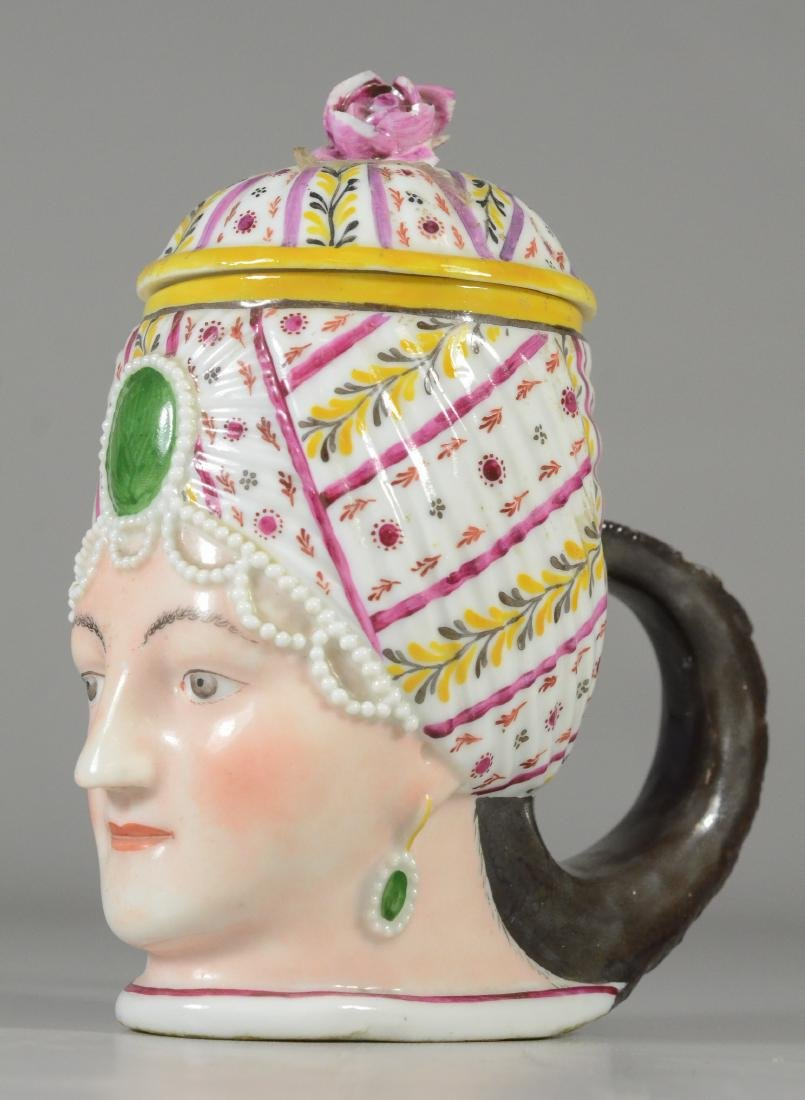 German porcelain covered cup, bust of a woman - 6