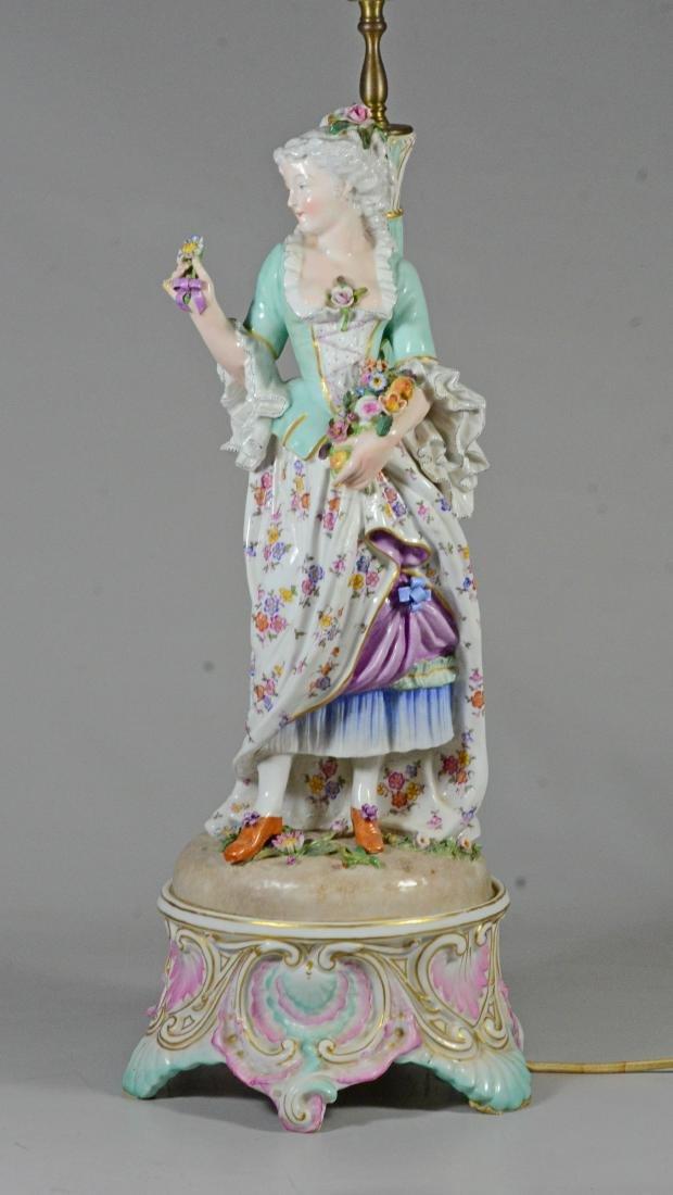 Pair of German porcelain figural candlestick lamps - 2