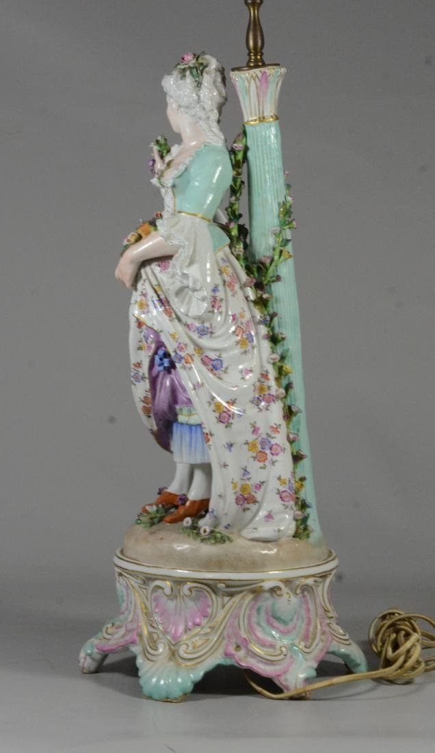 Pair of German porcelain figural candlestick lamps - 4