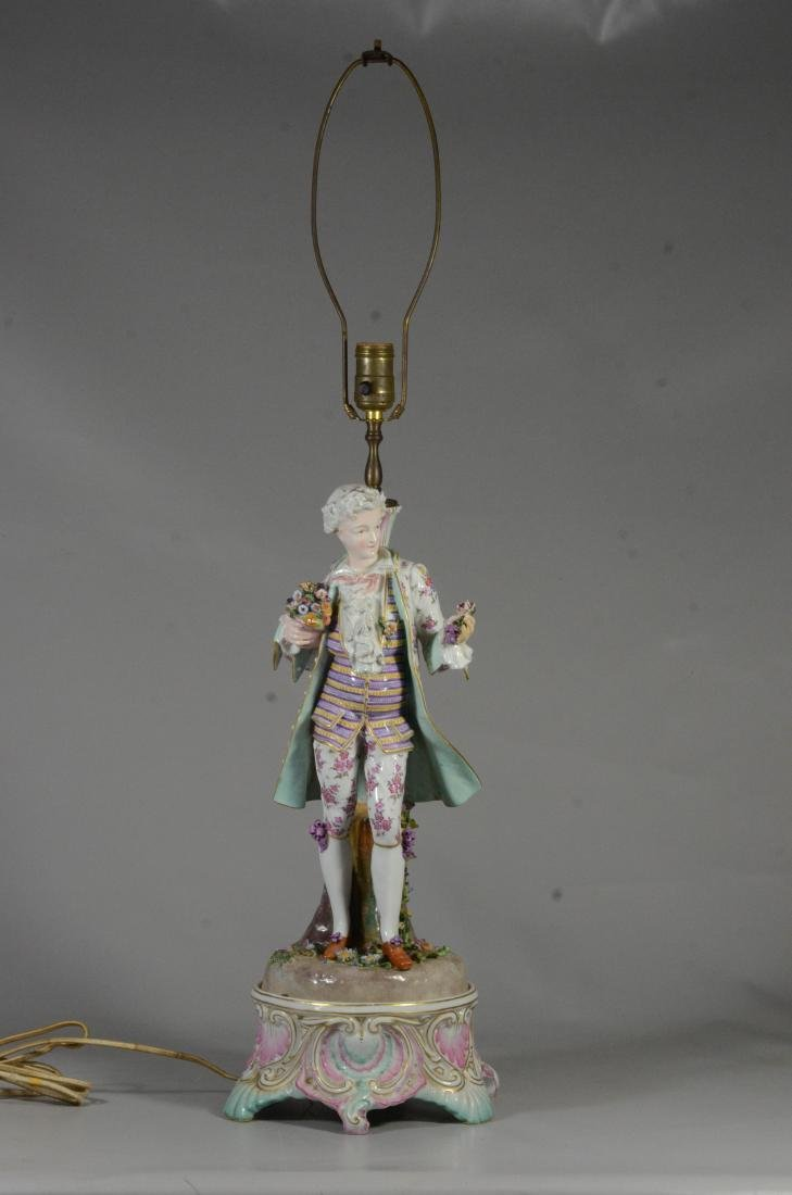 Pair of German porcelain figural candlestick lamps - 5