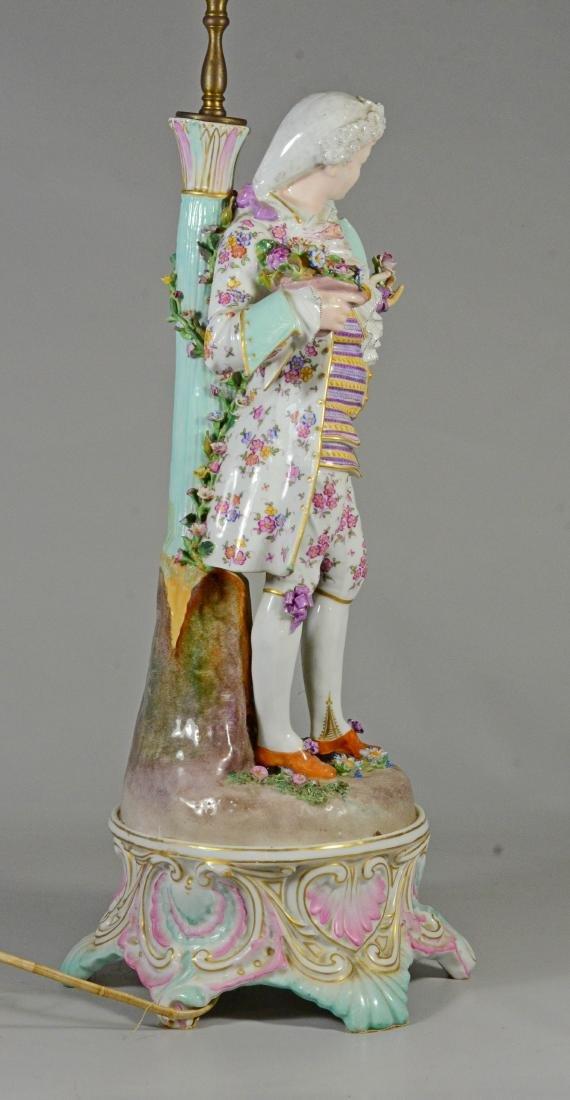 Pair of German porcelain figural candlestick lamps - 7