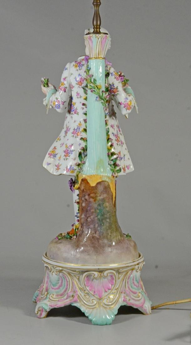Pair of German porcelain figural candlestick lamps - 8