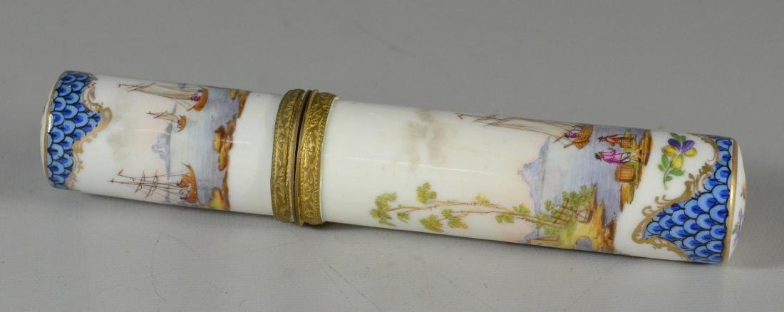 German porcelain etui, late 19th C, cylindrical-form