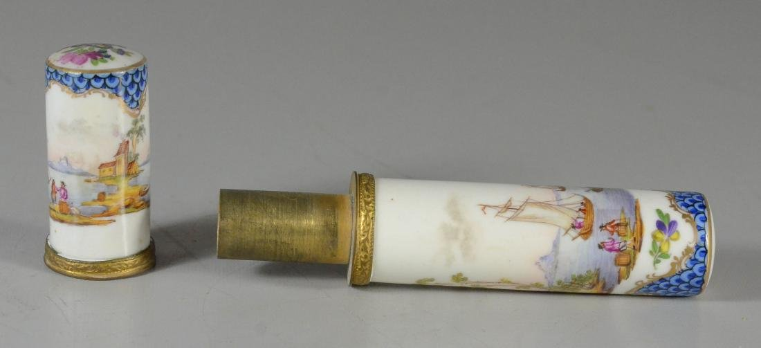 German porcelain etui, late 19th C, cylindrical-form - 2