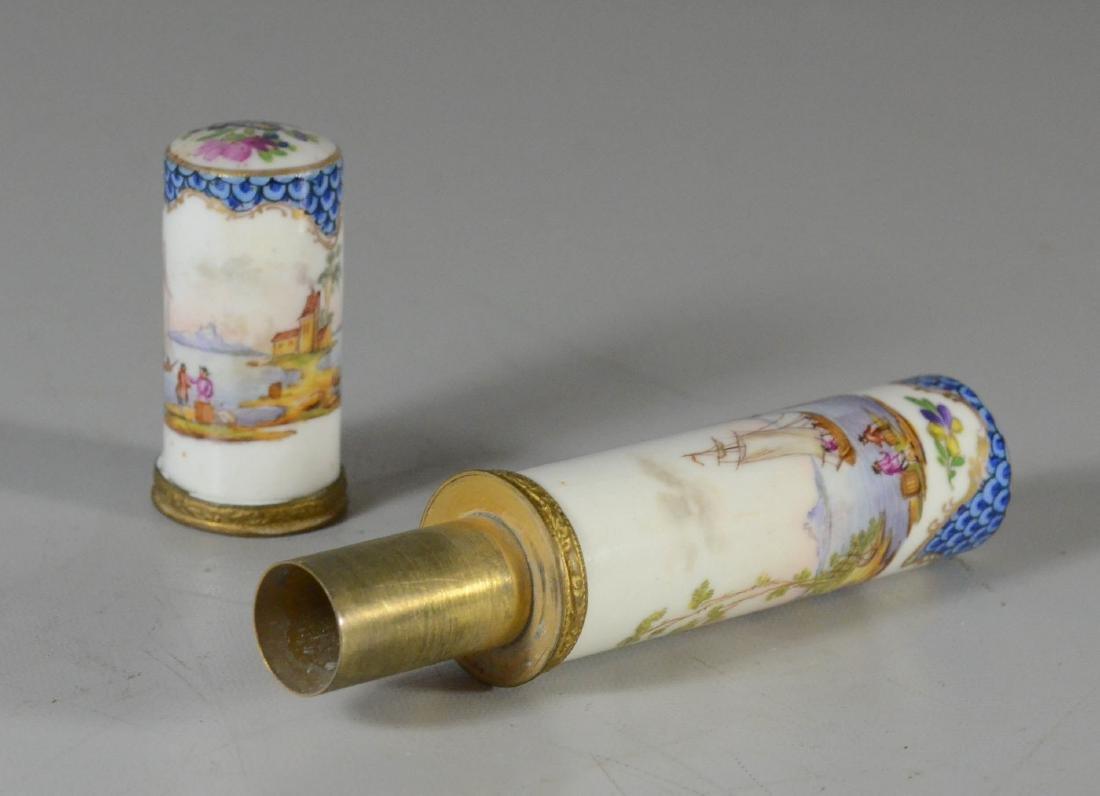 German porcelain etui, late 19th C, cylindrical-form - 3