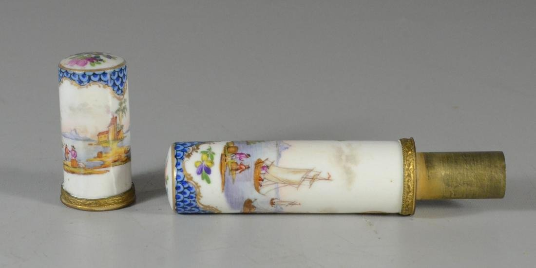 German porcelain etui, late 19th C, cylindrical-form - 4