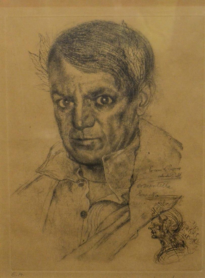 Salvador Dali, etching, self portrait as Napoleon