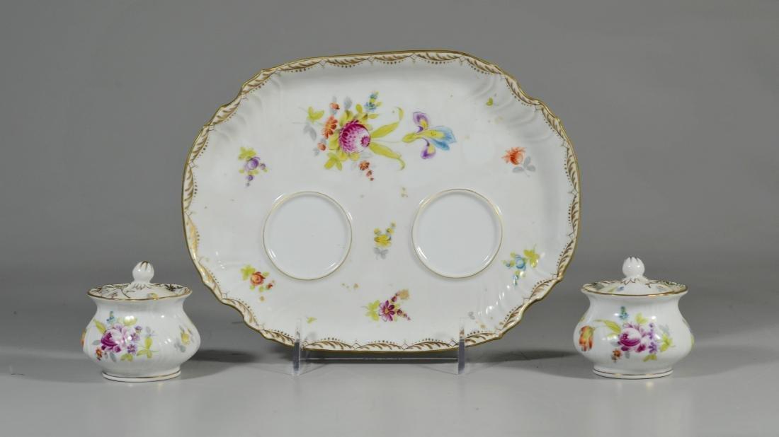 Potschappel porcelain 'Deutsche Blumen' 2 bottle stand
