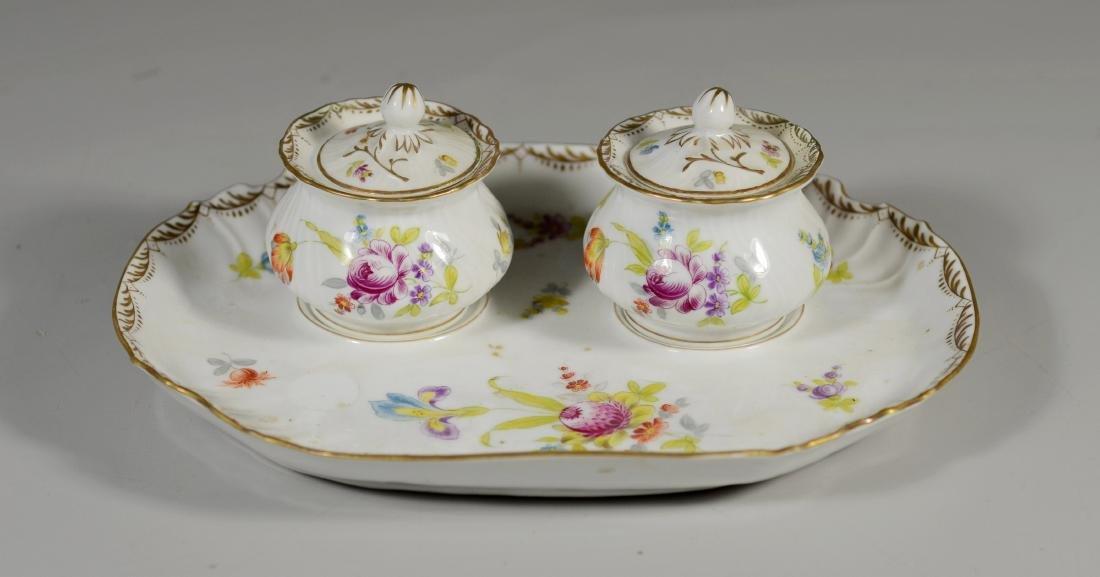 Potschappel porcelain 'Deutsche Blumen' 2 bottle stand - 5