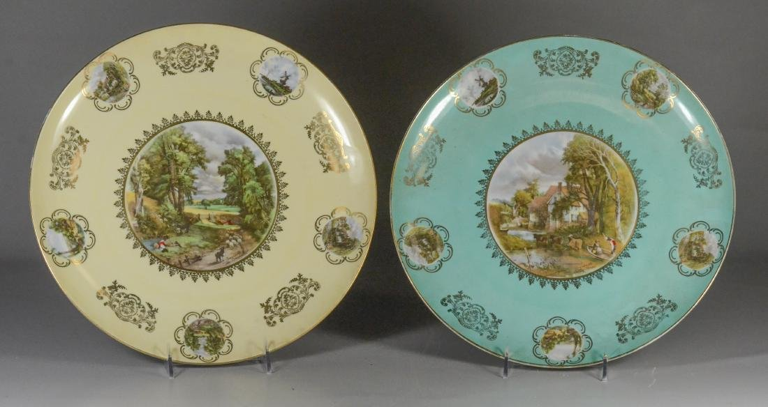 Pair of Hutschenreuther porcelain pictorial chargers